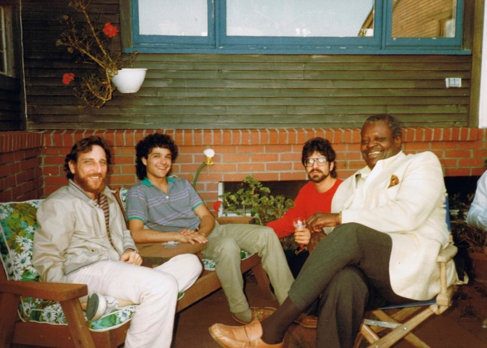 New England Digital's Synclavier Seminar with featured speakers (left to right), Albhy Galuten, Anthony Marinelli, Brian Banks and Oscar Peterson, White River Junction, VT, 1985