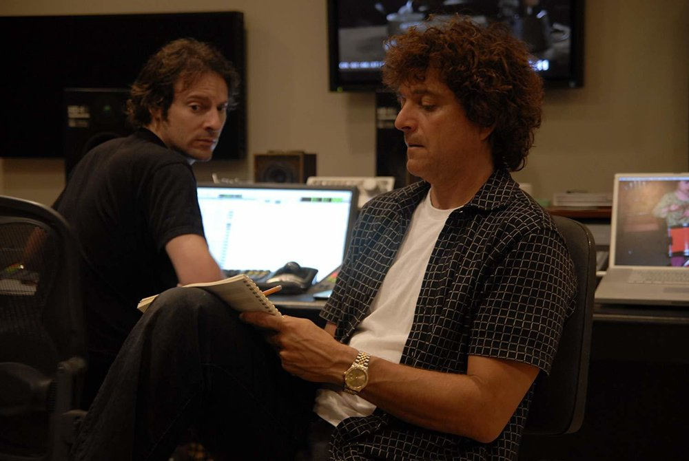 """Recording engineer Clint Bennett with composer Anthony Marinelli working on the score to the feature film """"Footsteps"""".  Encino, CA, 2006"""