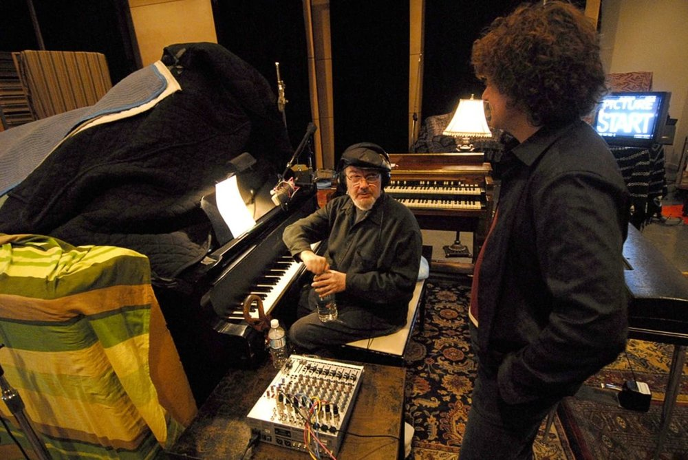 """Dr. John with composer Anthony Marinelli working while working together on original songs and original score for the feature film """"My Sexiest Year"""", Studio X, Seattle, 2007"""
