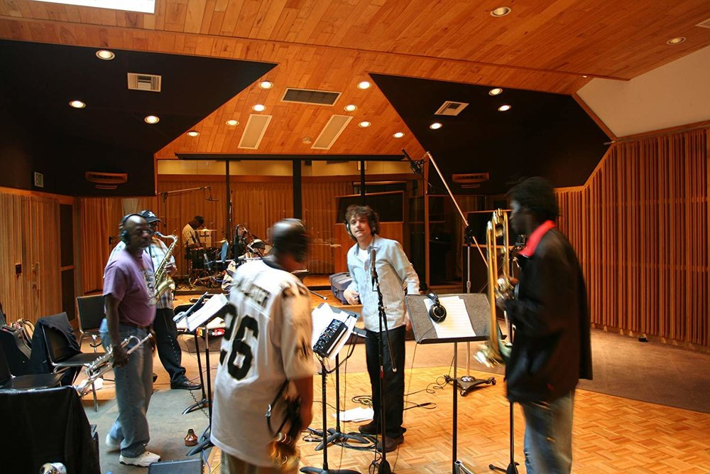 """Anthony Marinelli  conducting the Dirty Dozen Brass Band remake of Marvin Gaye's """"What's Gong On"""", Westlake Studios, Los Angeles, CA, 2006"""