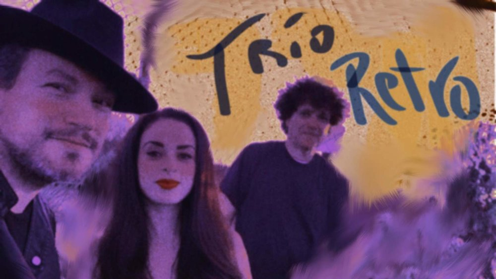 Trio Retro, international jazz and multi language vocal group, featuring Asdru Sierra (vocals and trumpet), Cindy Gomez (vocals) and Anthony Marinelli (piano), Encino, CA, 2017