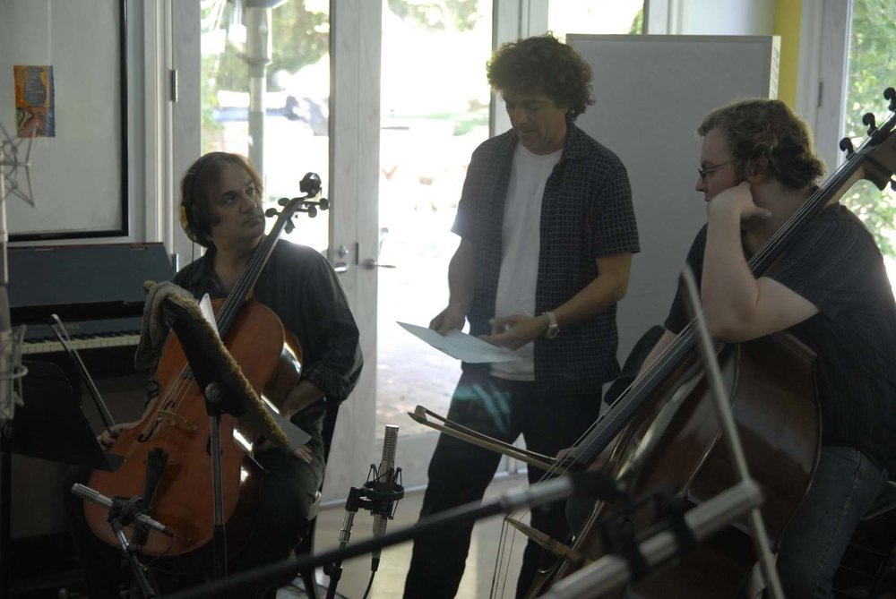 """composer Anthony Marinelli working with string trio on the score to the feature film """"Footsteps"""", Encino, CA, 2006"""
