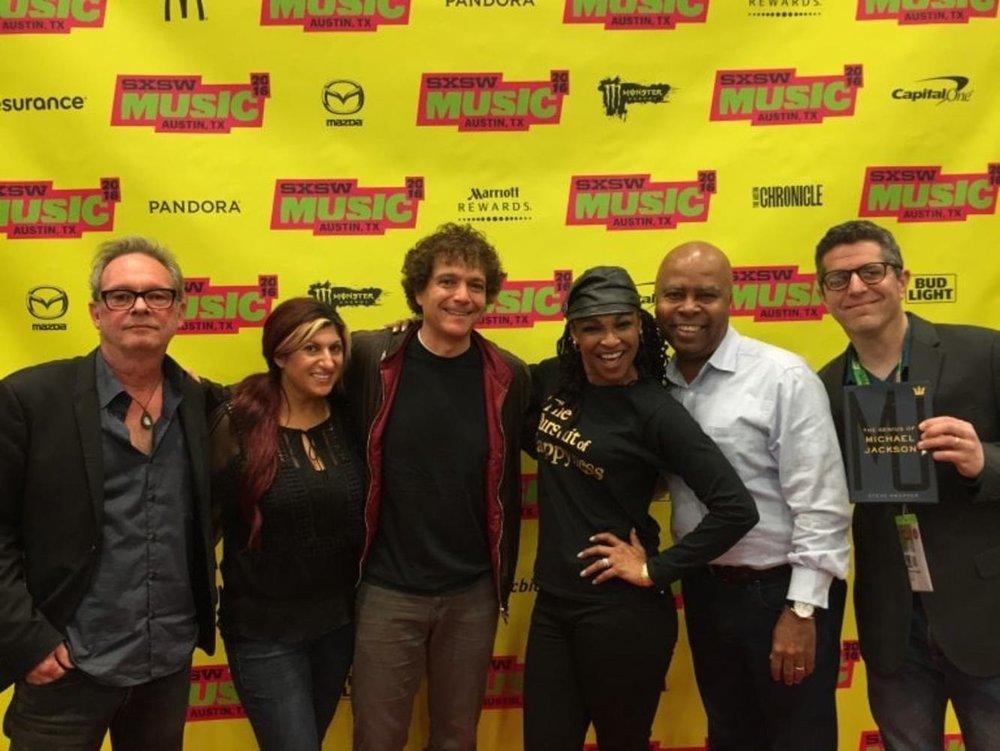"(L-R) ""The Genius of Michael Jackson"" panel held during the SXSW film festival: Anne Cecere (BMI), Anthony Marinelli, Bill Botrell, Saida Garrett, Steven Ray, Steve Knopper Austin, TX, 2016"