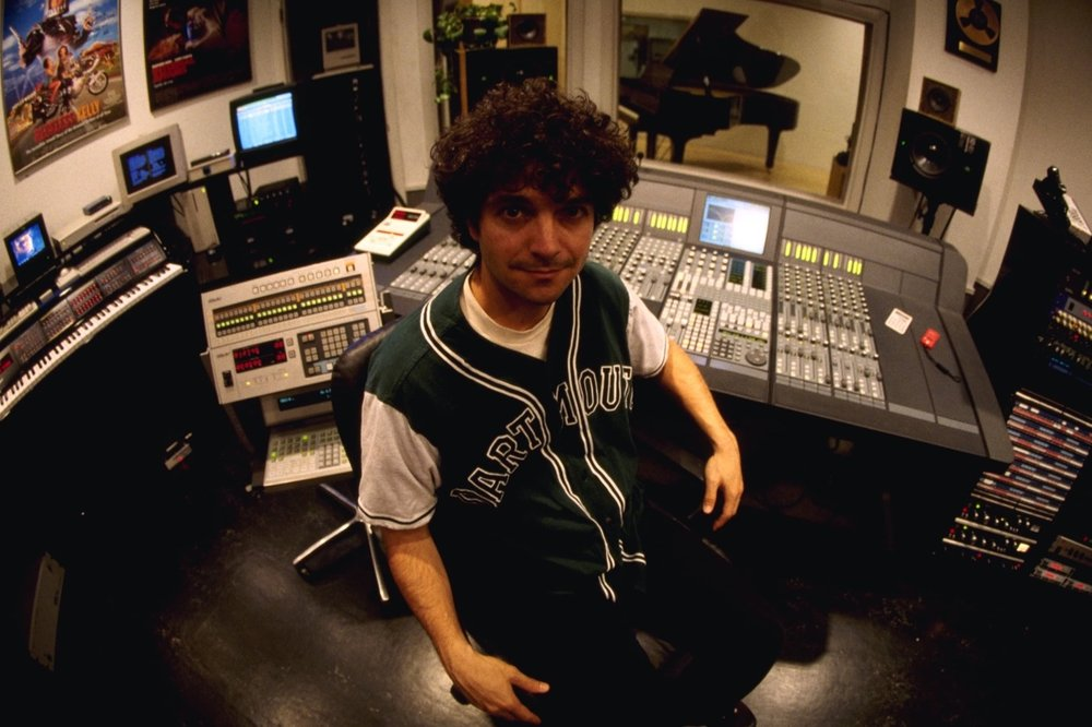 Anthony Marinelli with his Euphonix CS 2000 mixing console and Synclavier Digital Music system in his studio, Hollywood, CA, 1995