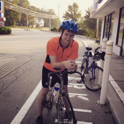 Escorting tovah on the last leg of her chicago-atlantic bike trip