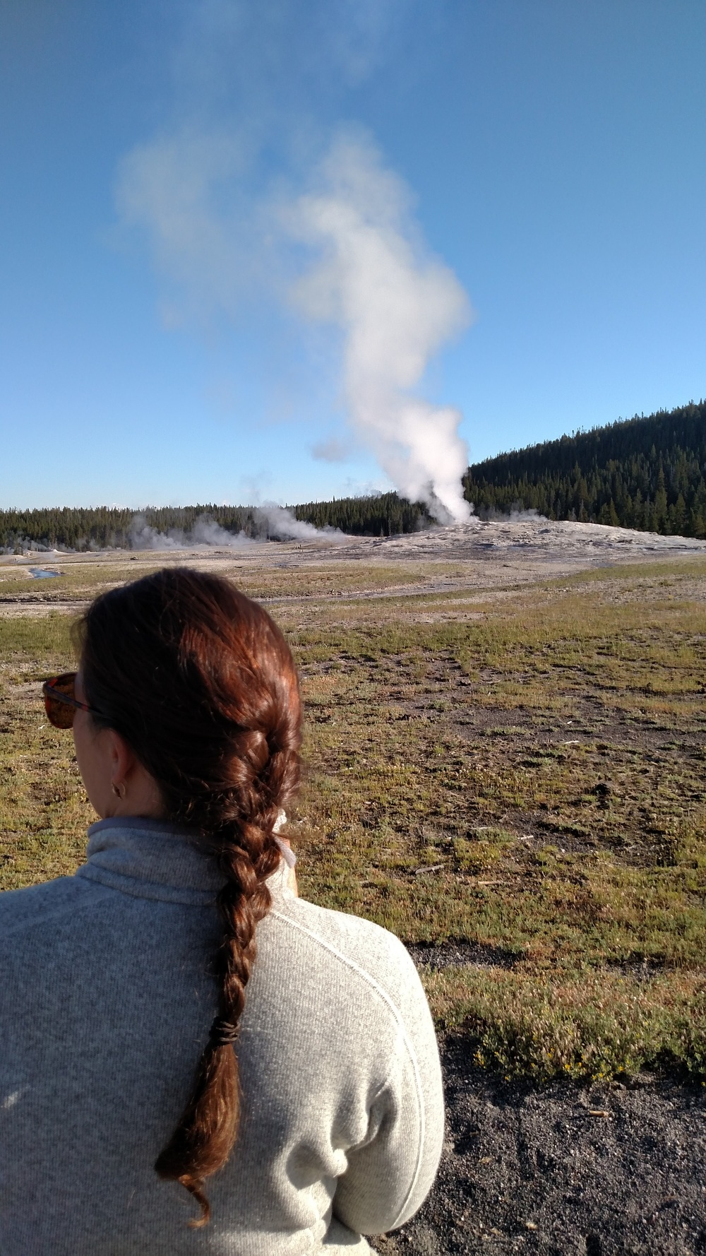me waiting for Old Faithful and refusing to engage with the world prior to coffee. We thought Old Faithful was just okay