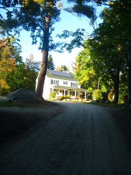 the road up to the farmhouse and main office