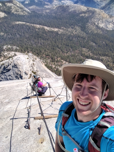Paul showing great concern over the minor meltdown I'm having on the Half Dome cables.