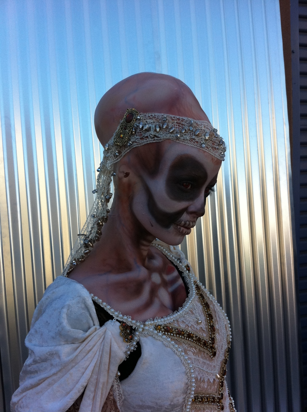 "My friend April Eden (green girl from Star Trek Into Darkness) called me and asked if I could make her up as a ""Skeletal Alien"" for Monsterpalooza a couple of years ago. I asked ""what does that look like?"" She replied, ""whatever you think…"" This was the result!"