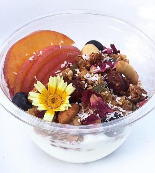 Breakfast Pots - Coconut yogurt breakfast pots with homemade granola & seasonal berries. Chia pudding and bircher muesli also available.