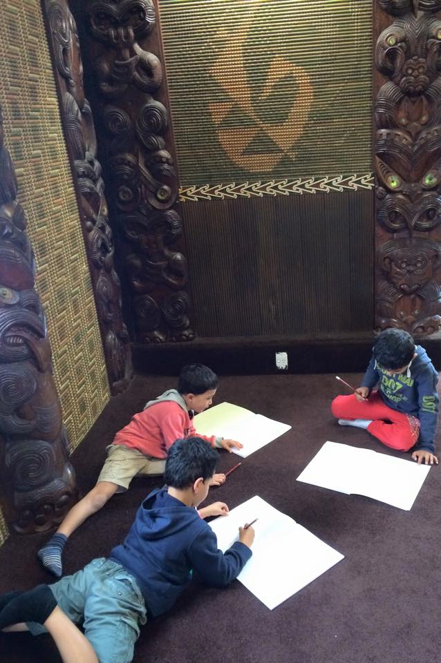 Whakairo  ,   tukutuku   and   kō      whaiwhai   are all easily accessible for the children to observe and connect with inside the whare tupuna,   which is why   marae   are   one of my favorite places to work.