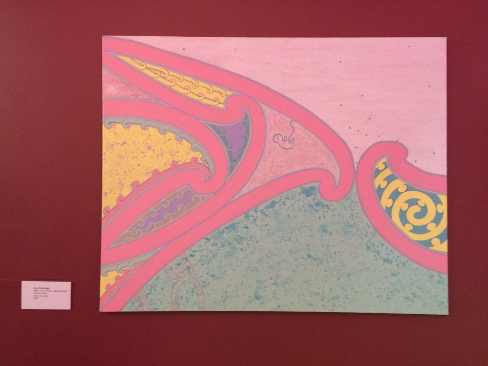 My painting 'Te Āhuru Mōwai' currently at Mahara Gallery. This painting refers to a 'cosy haven' inside the womb of a woman, the home of a baby growing, the amniotic fluid and the dna / ancestral material that makes up the baby and who the baby is / will become.