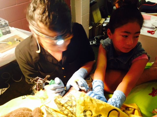 My niece Ria Te Uira is a great little apprentice.