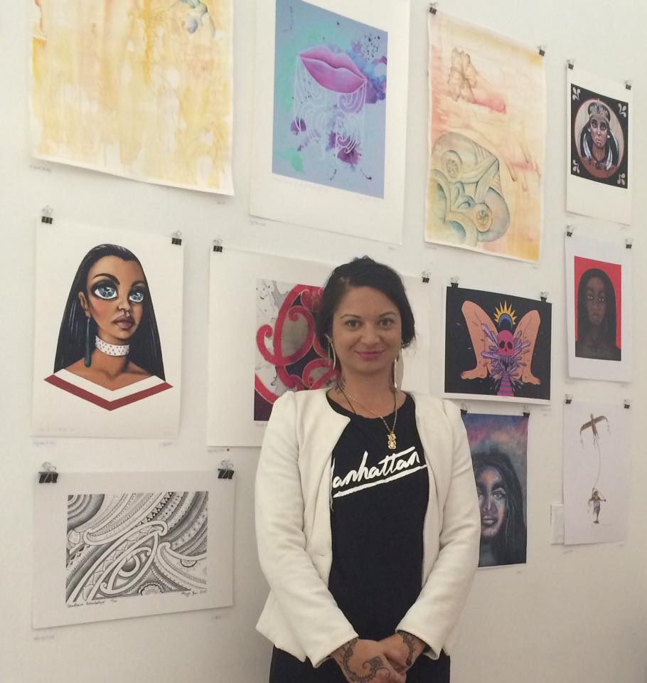 Artist Taryn Beri with a selection of contemporary Maori artworks shown in New York City at a similar special event.