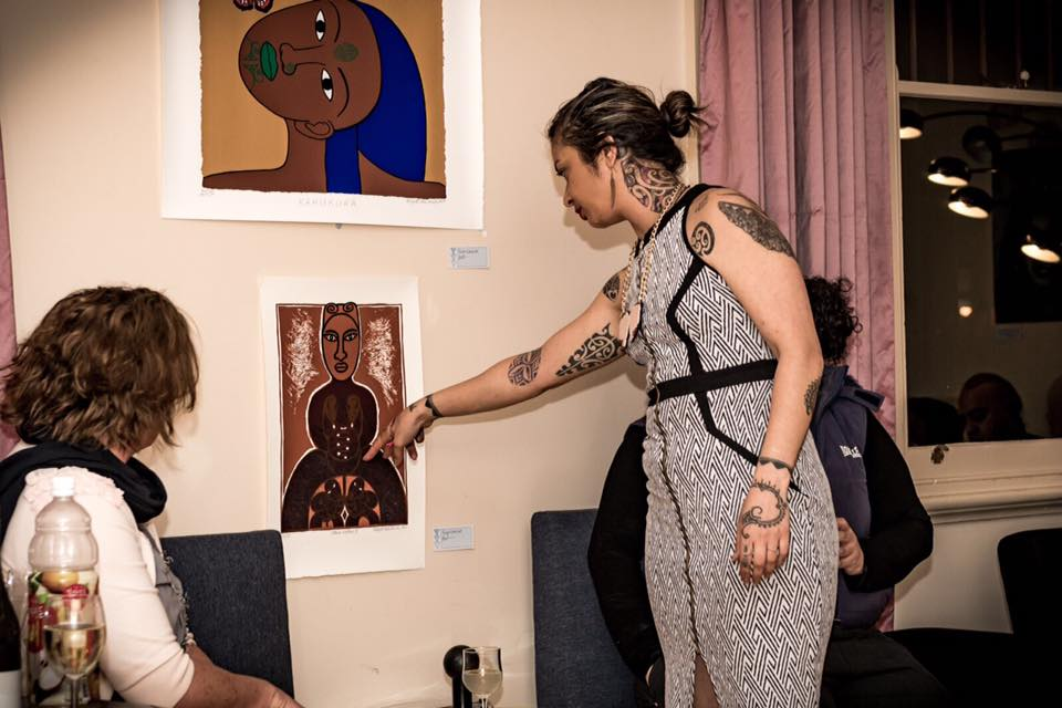 Explaining my interpretation of original works by internationally renowned Māori artist, Robyn Kahukiwa.