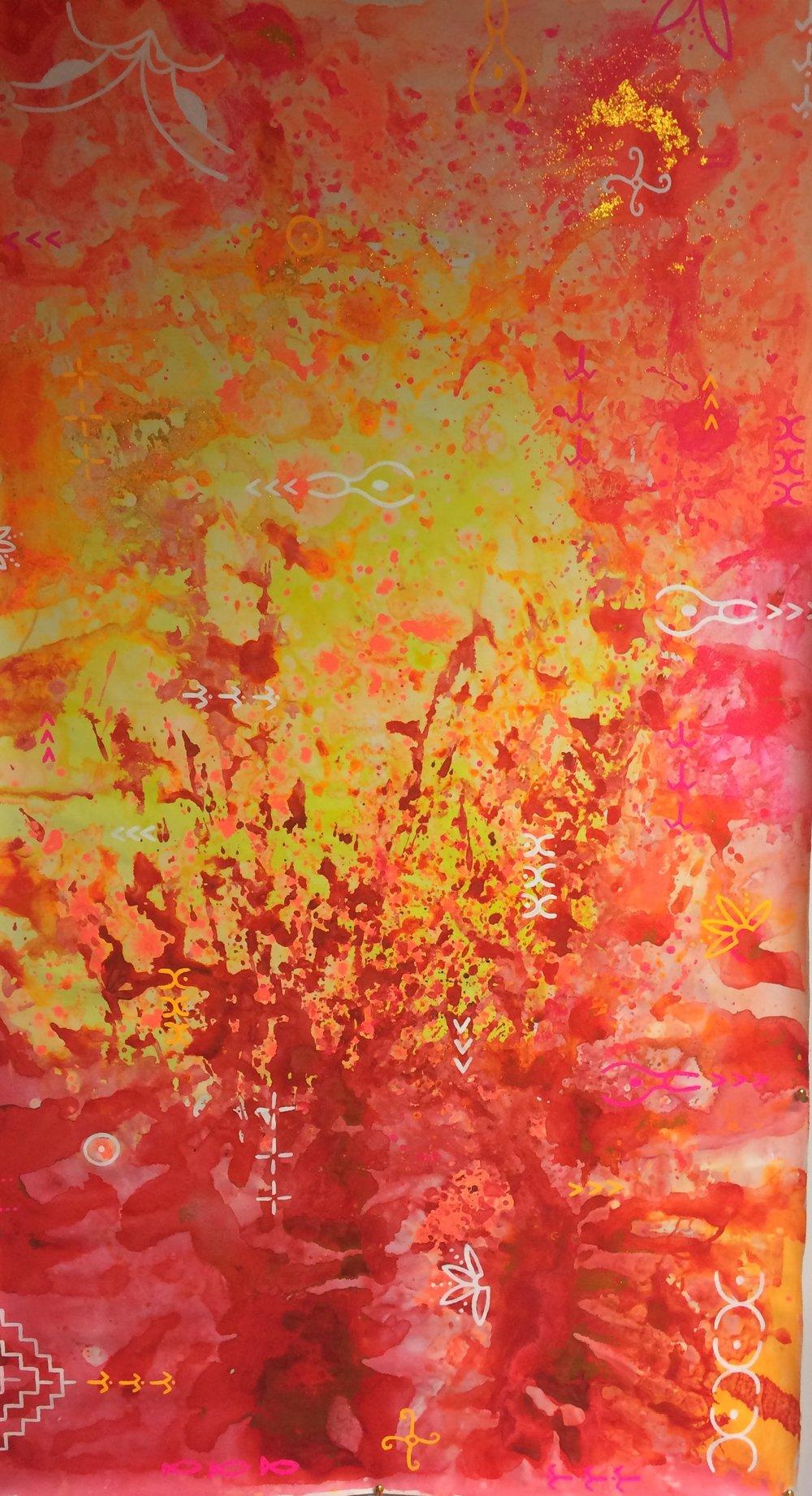 'Ngā tangata o te rā' original acrylic and glitter painting.SOLD.