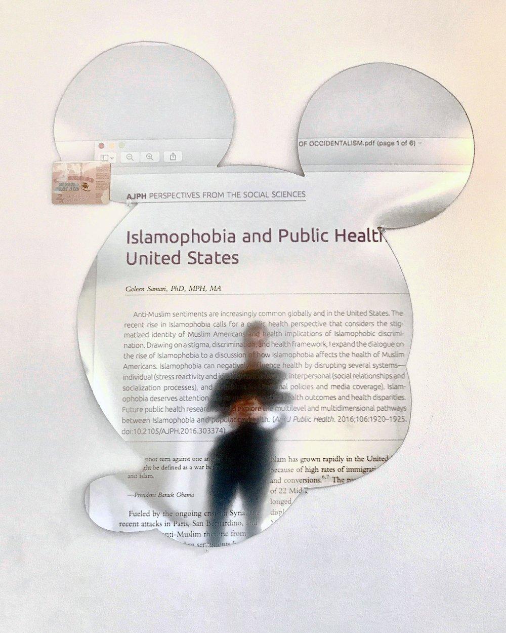 "Alexandre Dorriz, ""Untitled"", (Detail) 2017. (Installation View) Acrylic,Mirror, Mixed Media."