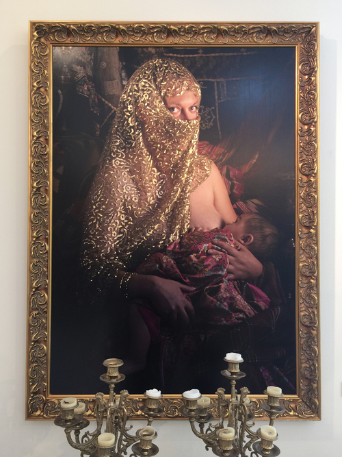 """Shahla and Alexandre Dorriz, """"Virgin and Child"""", (Detail) 2015. Installation View. Gold, Acrylic Resin, Archival Inkjet Print, (Diptych) 48"""" (H) x 34"""" (W) each."""