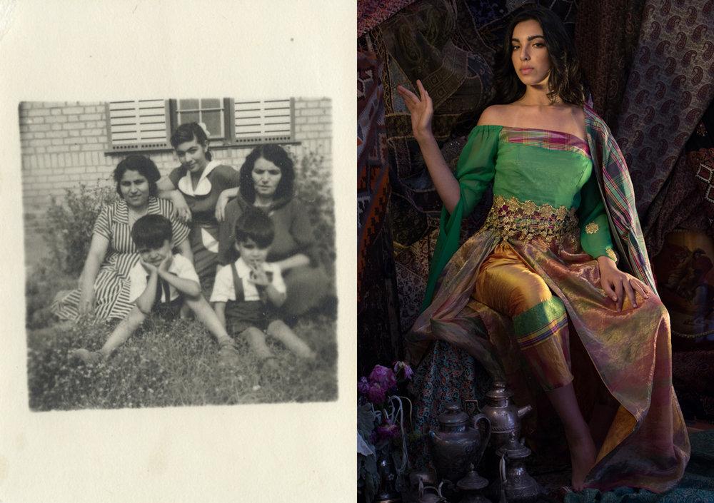 "Shahla and Alexandre Dorriz, ""Unnamed (Daughter V)"", (Detail) 2015. Gold, Acrylic Resin, Archival Inkjet Print, (Diptych) 48"" (H) x 34"" (W) each."