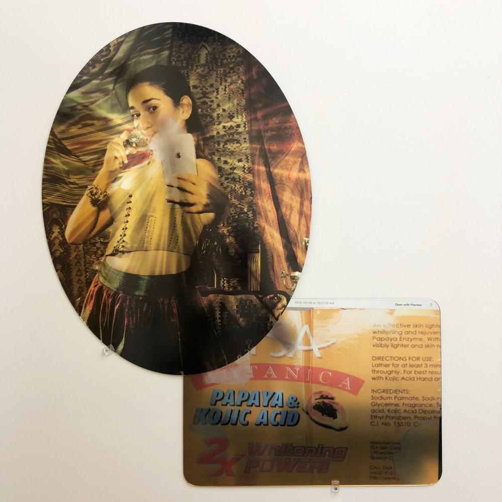 "Alexandre Dorriz, ""Untitled"", (Detail) 2017. (Installation View) Acrylic, Mirror, Mixed Media."