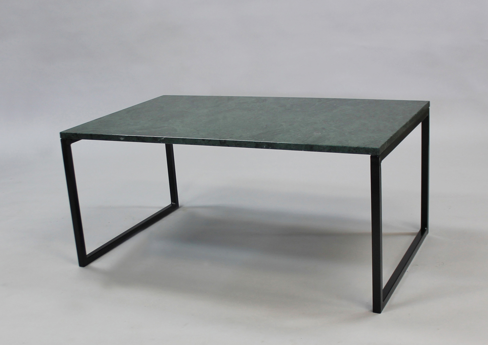 Marmorbord GRÖN 100x60 H 45, svart svävande underrede