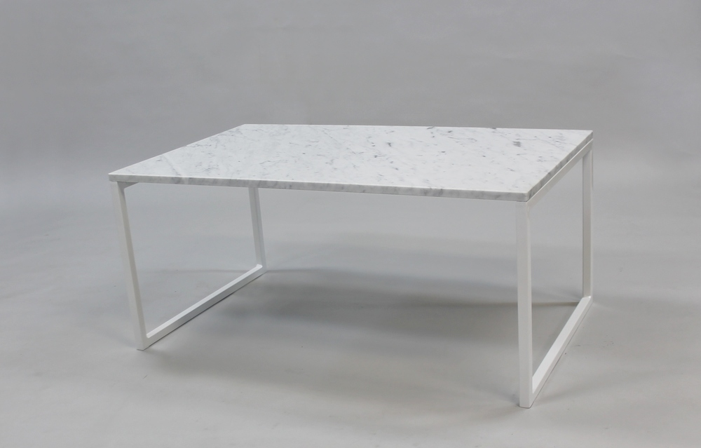 Marmorbord 100x60 H 45, vitt svävande underrede