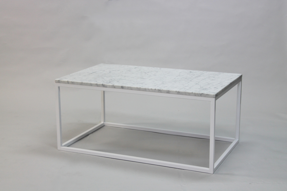 Marmorbord 100x60 H 45, vitt kub underrede
