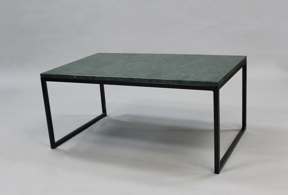 Marmorbord, grön - 120x60 x  45  cm, svart underrede  halvkub    SLUT!