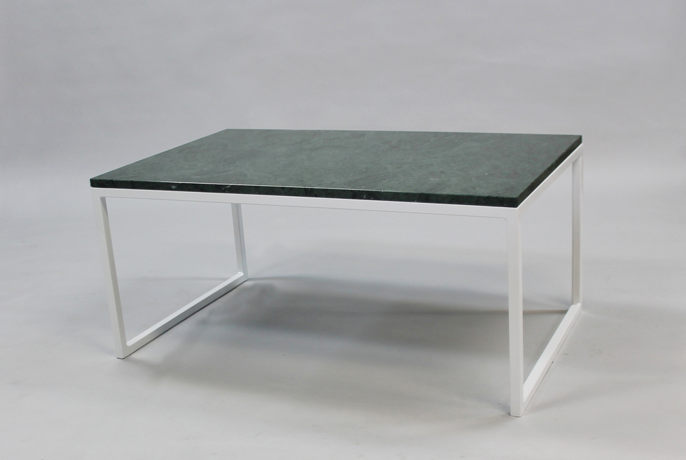 Marmorbord, grön - 120x60 x  45  cm, vitt underrede halvkub   SLUT!