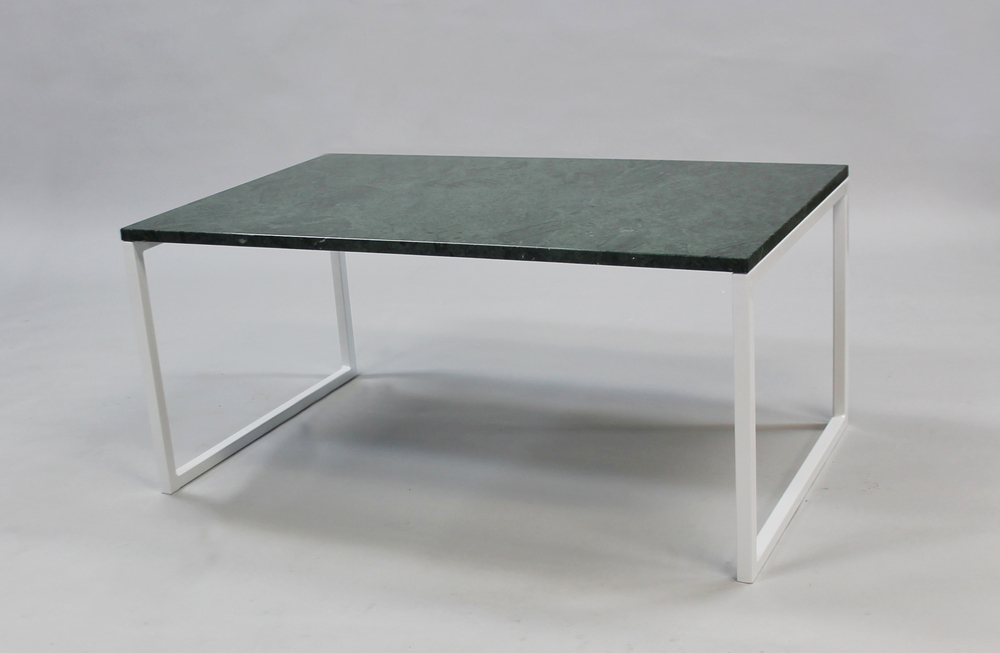 Marmorbord, grön - 100x60 x  45  cm, vitt underredesvävande   Slut!