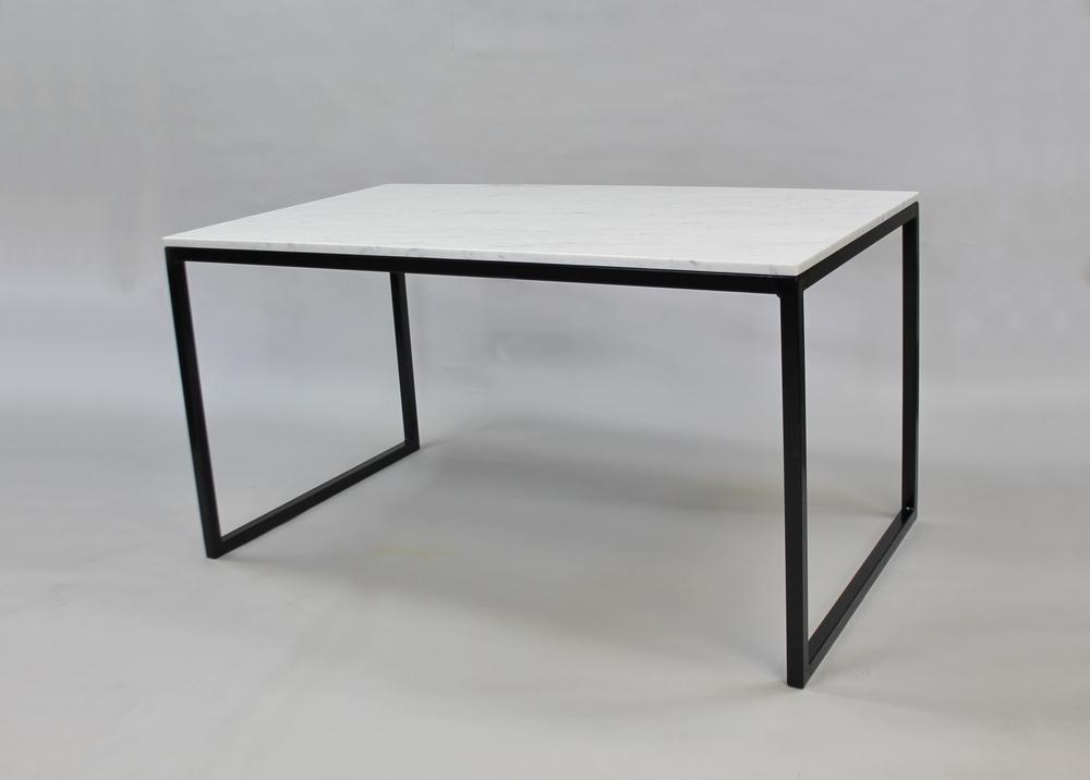 Marmordbord, vit - 140x80x74 vit marmor svart underrede kub SLUT!