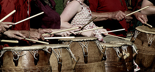 Drumming can be beneficial for the throat chakra. Photo:  Some rights reserved by flequi