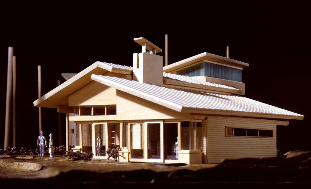CARLYON RESIDENCE . Traverse City, MI       This was an initial, more ambitious study for the home that was  eventually built  (see residential projects).    The overall approach to site, view and program layout was maintained in the final design, but this included the extensive use of limestone and cast glass on the exterior façade as well as expanded program on the second floor which included clerestory windows and an additional office/guest bedroom.        Model photography © Jock Pottle Photography                                               Model fabrication and drawings © STUDIOrobert Jamieson