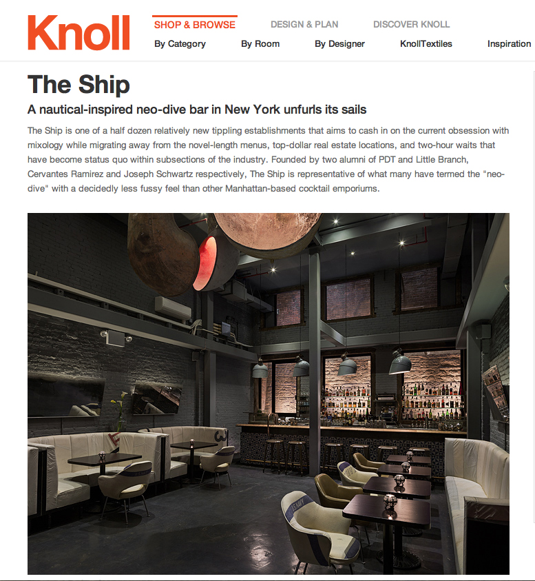 THE SHIP featured at Knoll.com.  Click to read full article.