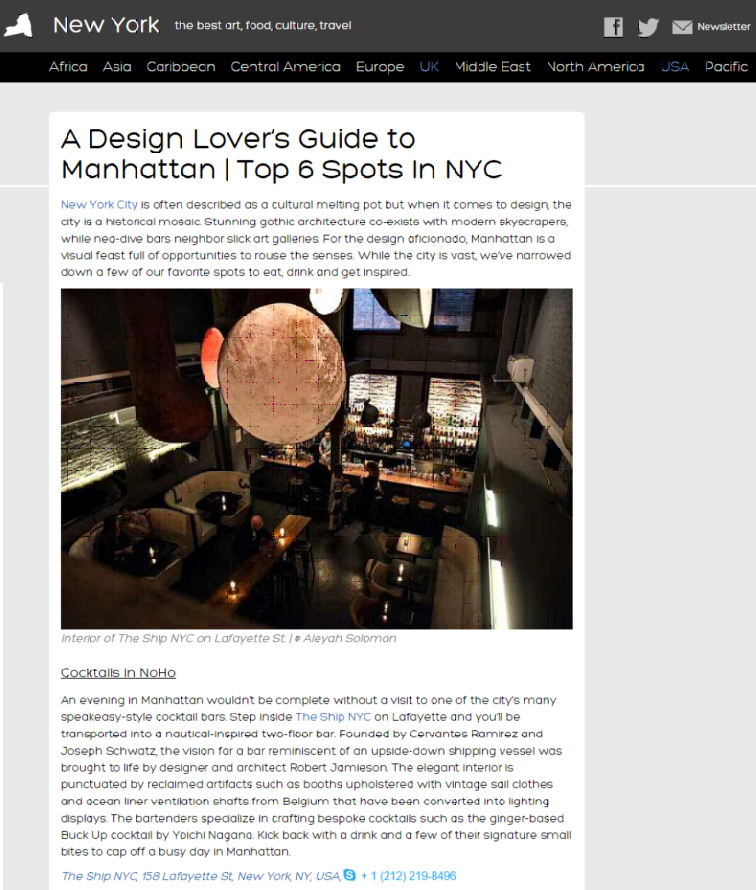 THE SHIP featured in The Culture Trip: Design Lover's Guide to Manhattan