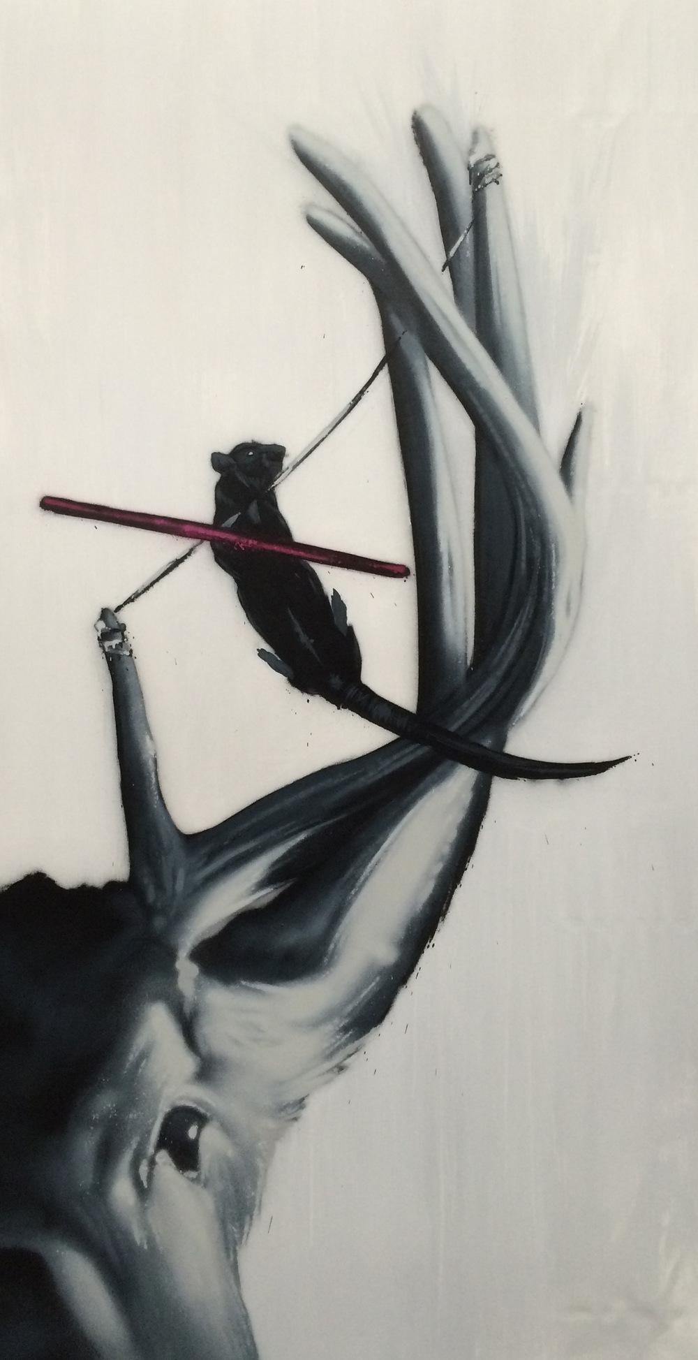 Linedance fail - TERJE ANDERSEN 1 x 2 m Lin/polyester lerret Akryl/spray 11 900 kr