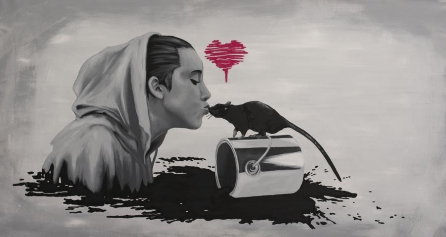 Lovestory - TERJE ANDERSEN 80x150 cm Lin/polyester lerret Akryl/KRINK Ikke til salgs
