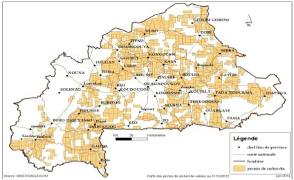 Map of exploration permits in Burkina Faso in 2014 (ITIE 2014)