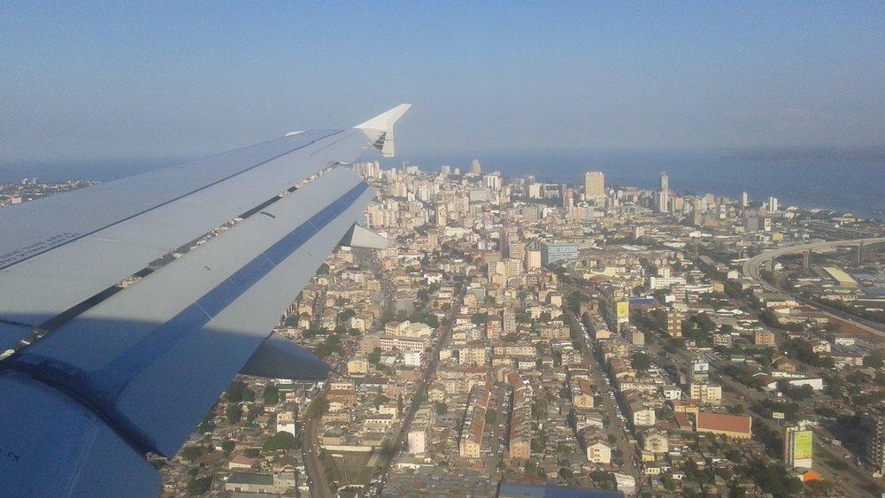 View of Maputo's skyline upon landing. Photo: Eric Cezne/ May 2018