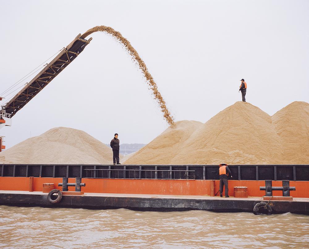Sand ships. Dongting Lake, China, 2015.