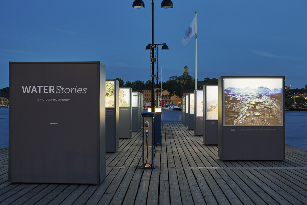 Water Stories  is an on-going partnership within the project  Water,  funded by World Wildlife Fund, WaterAid and EarthWatch Institute comprising of commissioned work from water issues in China, India, Brazil, Pakistan, Nigeria, and USA for display in Stockholm, London, New York City and Hong Kong from 2015 to 2017.