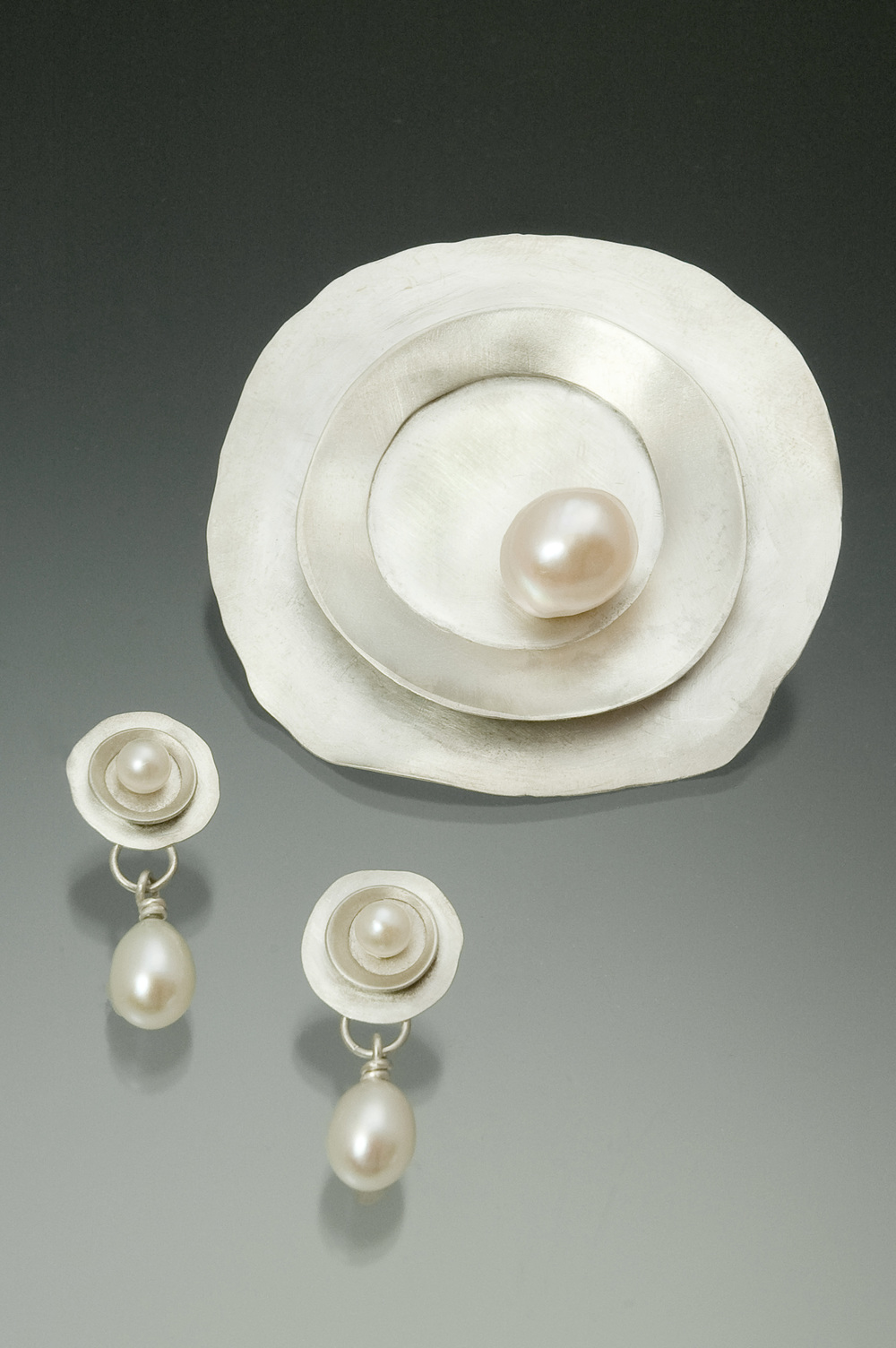 Earrings & Brooch.  Sterling silver with cultured freshwater pearls