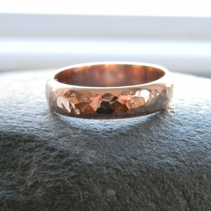 Hammered 14k Rose Gold Band
