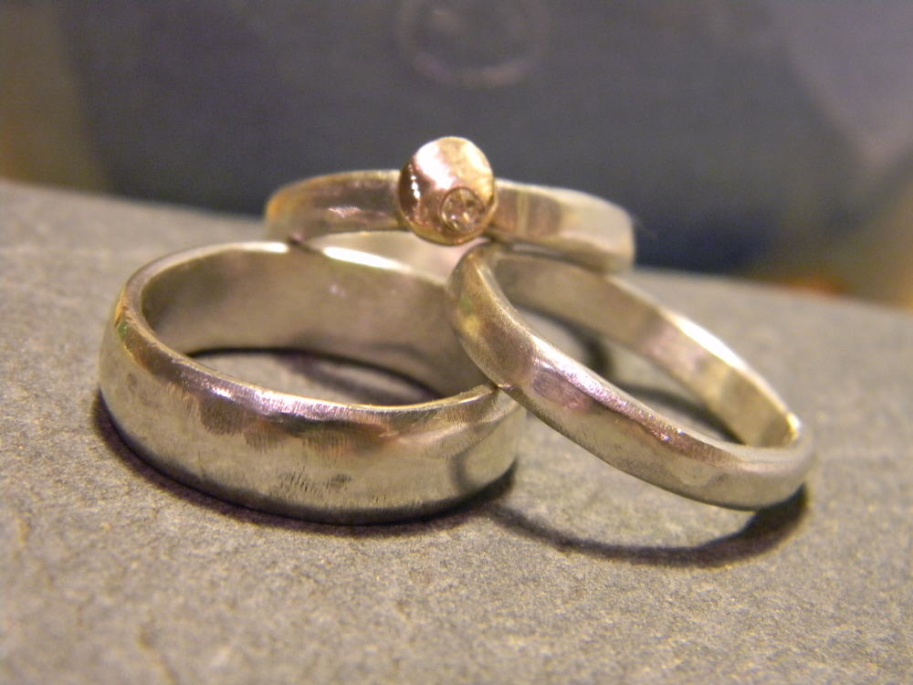 Engagement and wedding bands.  Sterling silver, recycled gold and vintage family diamond