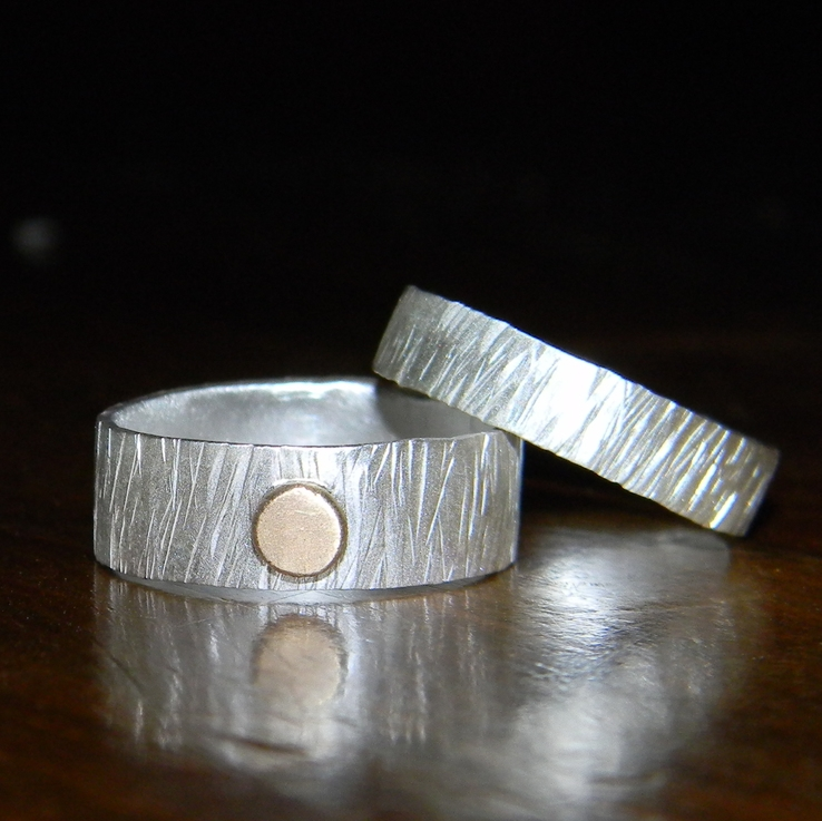 Birch textured bands, matte finish, 14k recycled gold dot