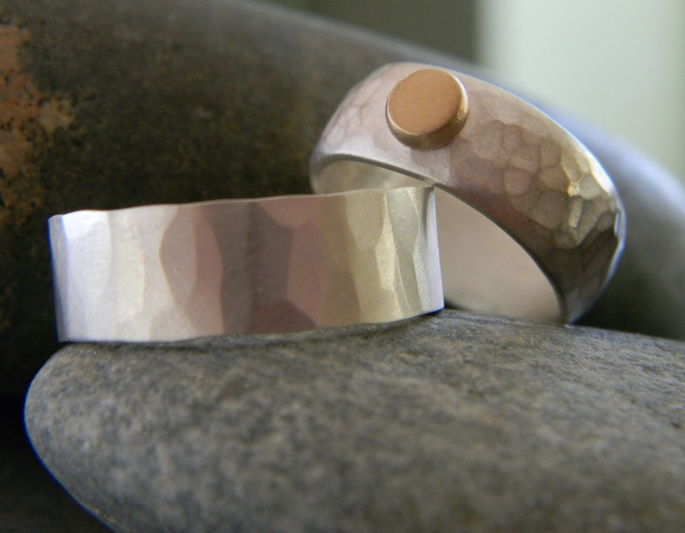 Sterling silver bands, 2 different hammered textures, matte finish, 14k recycled gold dot
