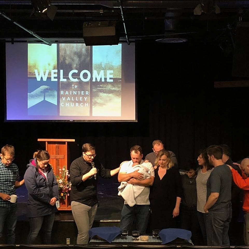 Praying for the Ford family on their last Sunday at Rainier Valley Church on 9.16.18