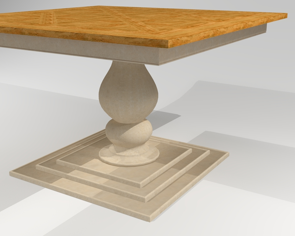 "Square Dutch Pedestal Table  - 50"" x 50""  Square pedestal table with reclaimed wood top, executed in a pattern reminiscent of some early Dutch pieces, with a turned pedestal and large square base, reminiscent of the Tuscany region of Italy."