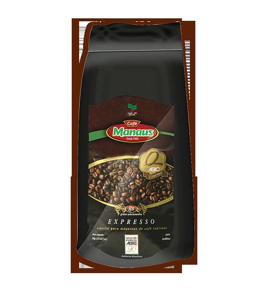 Café Manaus Expresso  Primeira marca a receber na região Norte do país a classificação Gourmet do Programa de Qualidade do Café / ABIC, que atesta as boas práticas do processo de fabricação e certifica a alta qualidade global do café.   Peso Líquido: 1kg Código de barra: 7896045000029