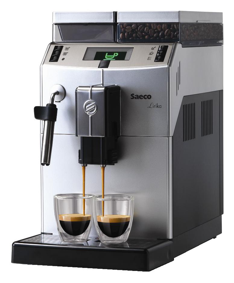 Lirika Plus Saeco  Saeco  LirikaPlus  é um modelo compacto, desenvolvido para a operação em escritórios com pouco espaço fornecendo uma capacidade diária de até 130 cafés dia. Com um design moderno e reservatórios com alta capacidade para café em grãos e água tendo a opção de vapor para no caso de um café com leite cremoso manual.